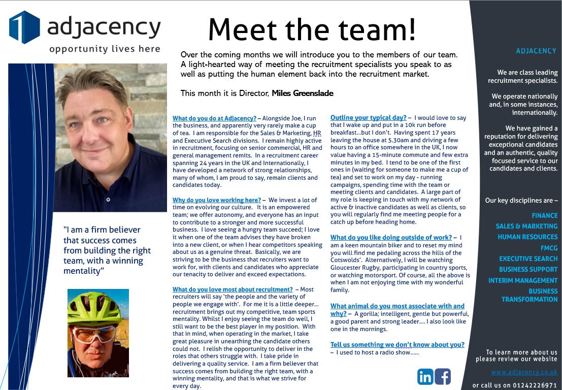 Meet the Team - Miles Greenslade, Director