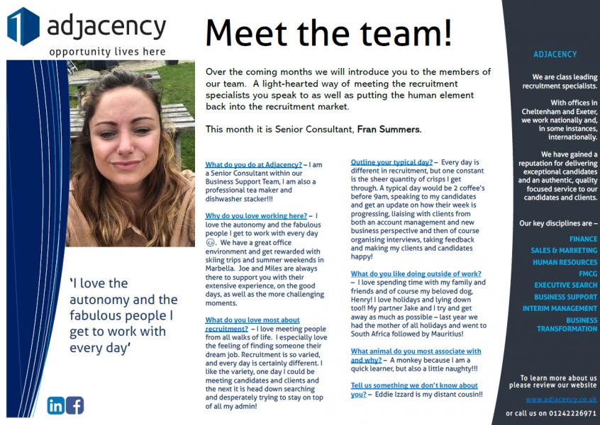 Meet the team - Fran Summers, Senior Consultant